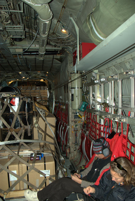 Jump seats and cargo in C130