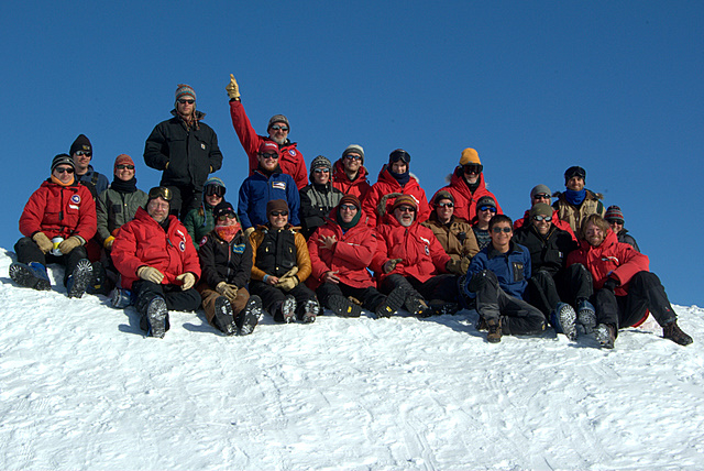 Group shot of drillers and ice core handlers